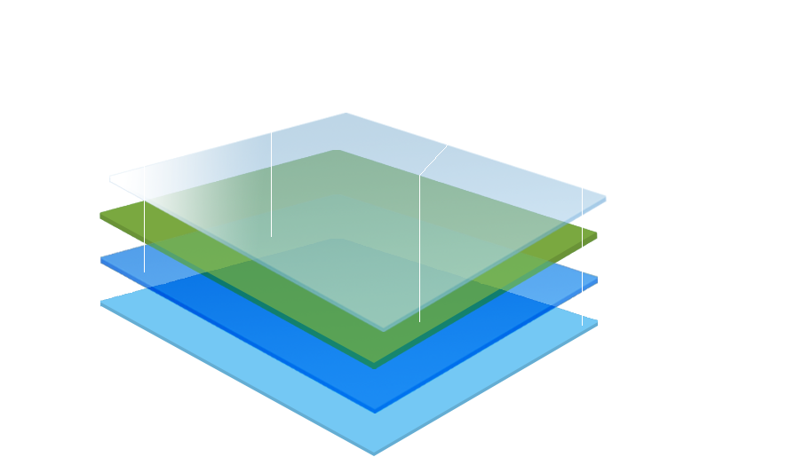 technological layers within a website graphic